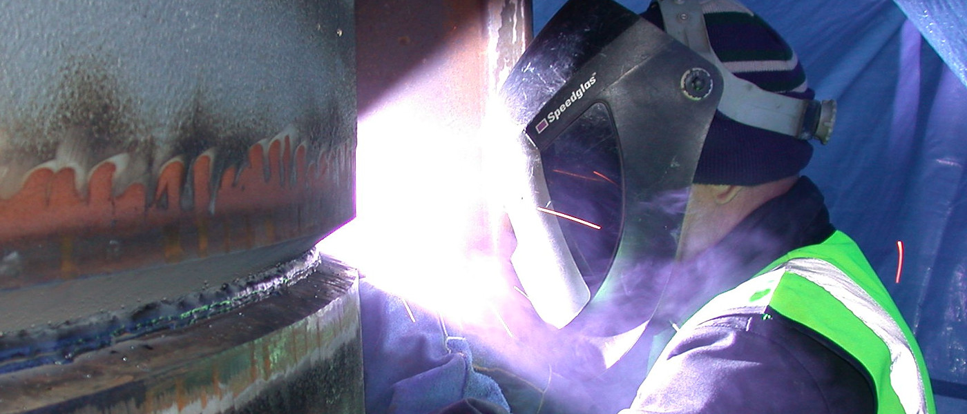 Welding a large pipe